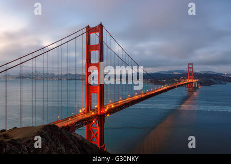 Famous Golden Gate Bridge in San Francisco at morning - Stock Photo