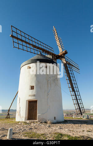 Traditional white Spanish windmill in Conquegra, Toledo province, Spain. - Stock Photo