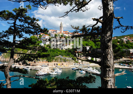 Vrbnik historic town on the hill in island Krk - Stock Photo