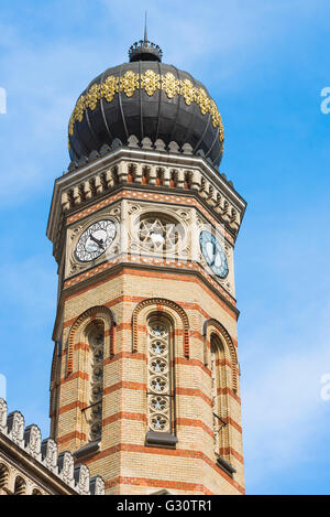 Detail of the Dohany Utca (also known as The Great) Synagogue in the Jewish Quarter of Budapest, Hungary. - Stock Photo