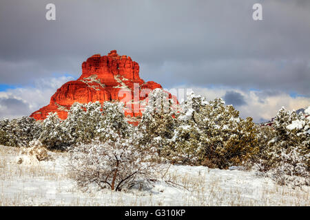 Bell Rock formation in Sedona, Arizona after heavy snow storm - Stock Photo