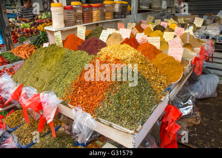 Spices on sale at Carmel Market in Tel Aviv, Israel. - Stock Photo