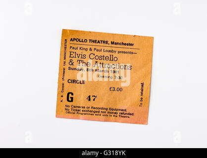 Ticket for a gig by Elvis Costello & The Attractions at the Apollo Theatre, Manchester in 1981 - Stock Photo