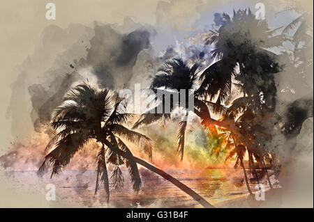 Idyllic scene of palm trees near the sea at sunset - Stock Photo