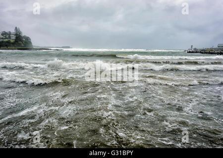 Kiama Harbour during a severe storm, Illawarra Coastline, New South Wales, Australia - Stock Photo
