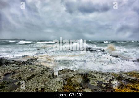 Kiama Rock Pool, Illawarra Coast, during a severe storm, New South Wales, Australia - Stock Photo