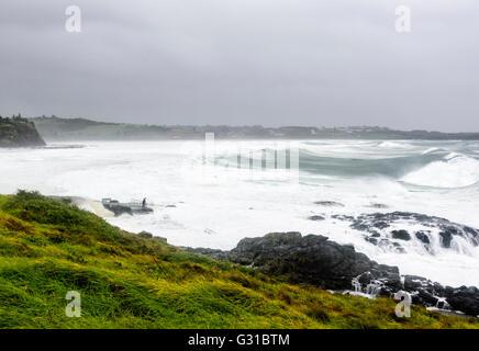 Kiama Rock Pool during a severe storm, Illawarra coast, New South Wales, Australia - Stock Photo