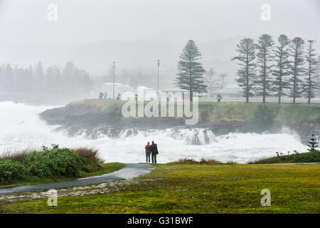 Storm Bay, Kiama Coastline during a severe storm, Illawarra coast, New South Wales, Australia - Stock Photo