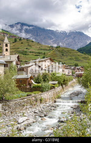 Scenic view of a typical town in Valtellina, a valley in the Lombardy region of northern Italy, bordering Switzerland - Stock Photo