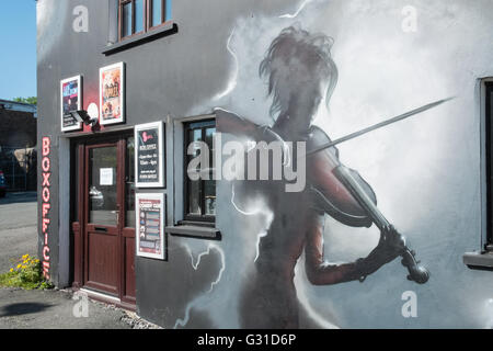 Wall mural exterior of Span Arts in Narbeth,Pembrokeshire,West Wales,U.K.,UK, - Stock Photo