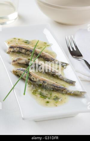 Marinated anchovies Spanish style - Stock Photo