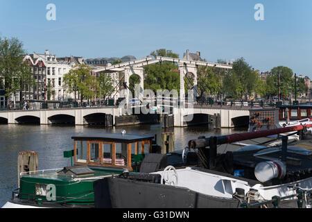 Amsterdam, Netherlands, the Ziehbruecke Skinny Bridge - Stock Photo
