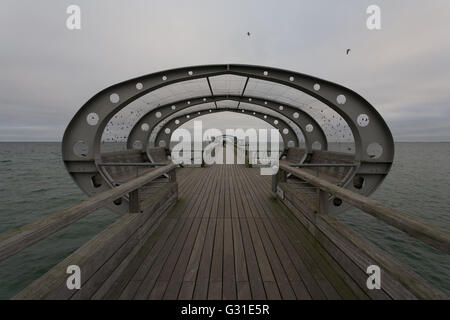 Kellenhusen, Germany, Seebruecke of Kellenhusen in bad weather - Stock Photo