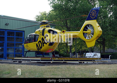 Berlin, Germany, ADAC rescue helicopter Christoph 31 in parking position Stock Photo