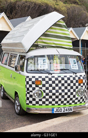 VW Campervan on display at the Bournemouth Wheels Festival in June - Stock Photo