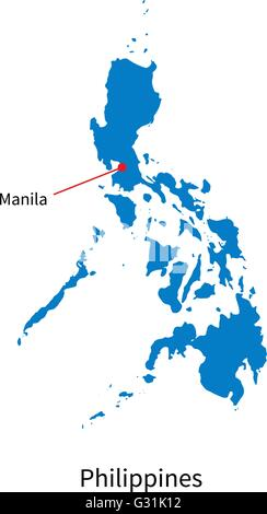 Detailed vector map of Philippines and capital city Manila - Stock Photo