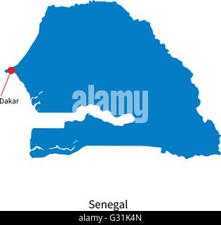 Detailed vector map of Senegal and capital city Dakar - Stock Photo