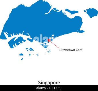 Detailed vector map of Singapore and capital city Downtown Core - Stock Photo