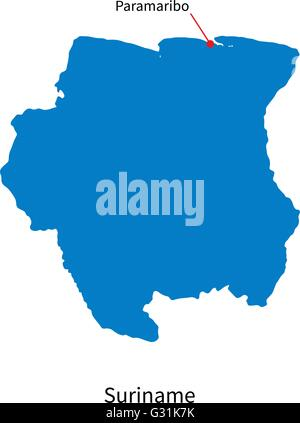 Detailed vector map of Suriname and capital city Paramaribo - Stock Photo
