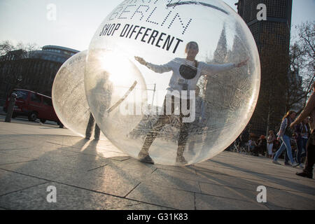 Berlin, Germany, promotion of bikini-house Breitscheidplatz - Stock Photo
