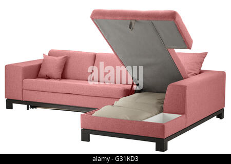 Grey sofa bed with storage for bedding, isolated on white, isolated ...