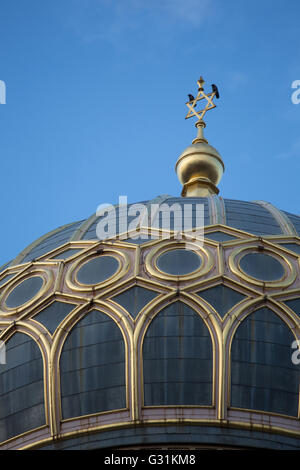Berlin, Germany, Spire with David Stern of the New Synagogue - Stock Photo