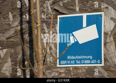 Berlin, Germany, on the grounds of Ueberwachungskamera BND headquarters - Stock Photo