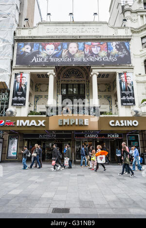 Crowds in front of the Empire Theatre in Leicester Square, London, England, UK - Stock Photo