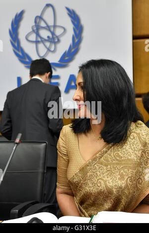 Vienna, Austria. 6th June, 2016. Aruni Wijewardane, IAEA Secretary Policy Making Organs, attends an IAEA board of - Stock Photo