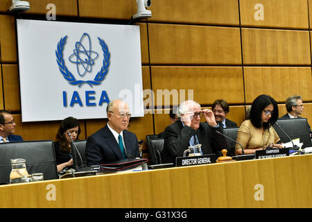 Vienna, Austria. 6th June, 2016. International Atomic Energy Agency's (IAEA) Director-General Yukiya Amano, Brazil's - Stock Photo