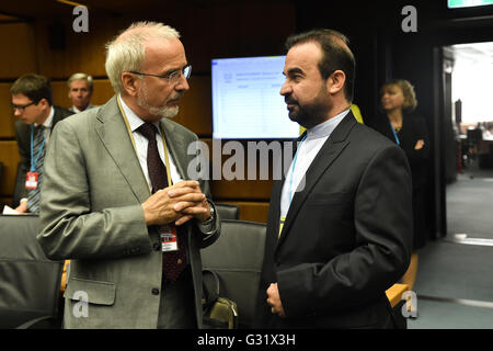 Vienna, Austria. 6th June, 2016. Iran's Ambassador to the International Atomic Energy Agency (IAEA) Reza Najafi - Stock Photo