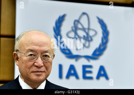 Vienna, Austria. 6th June, 2016. International Atomic Energy Agency's (IAEA) Director-General Yukiya Amano attends - Stock Photo