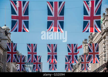 London, UK. 6th June, 2016. Union Jacks decorate Regent Street like giant bunting, to celebrate the Queen's official - Stock Photo