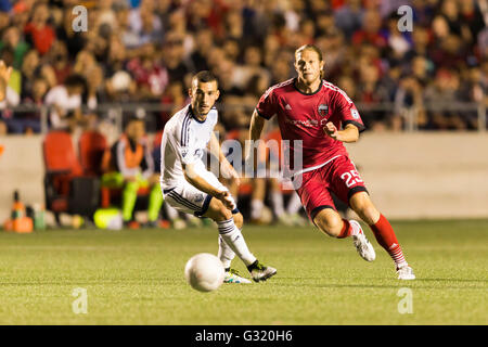 June 01, 2016: Ottawa Fury FC Lance Rozeboom (25) in action during the Amway Canadian Championship match between - Stock Photo