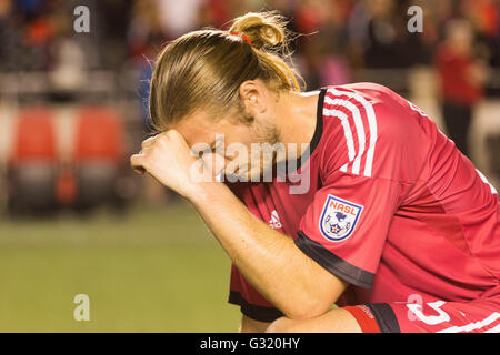 June 01, 2016: Ottawa Fury FC midfielder Lance Rozeboom (25) in thought after the Amway Canadian Championship match - Stock Photo