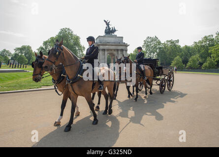 Hyde Park, London, UK. 7th June 2016. Horses from the Royal stables are exercised, on route to Hyde Park at Apsley - Stock Photo