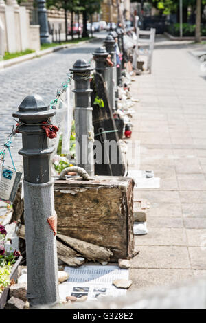 The memory of Jewish victims, Budapest, Hungary. Commemorative objects. Cultural heritage. Vertical composition. - Stock Photo