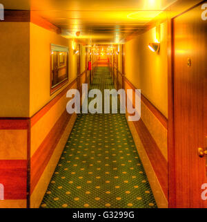 Hdr of Hotel aisle - shining movie like - Stock Photo