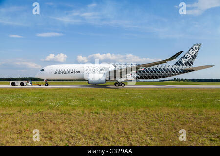 BERLIN / GERMANY - JUNE 3,2016: Airbus A 350 - 900 XWB plane during the ILA in Berlin / Germany on June 3, 2016. - Stock Photo