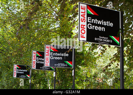 House for Sale sign Southport, Merseyside, United Kingdom. Estate Agency or Real Estate business advertising signs - Stock Photo