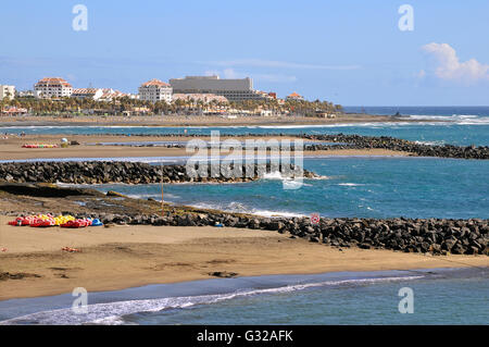 View aerial the beach and buildings of Las Americas of the southwest part of Tenerife in the Spanish Canary Islands - Stock Photo