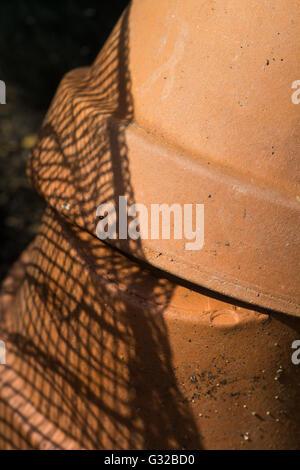 2 Brown Clay Garden Pots - Stock Photo