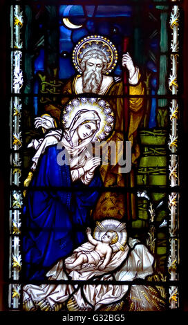 London, England, UK. St Andrew Church, Holborn. Stained glass window - Nativity Scene - Stock Photo
