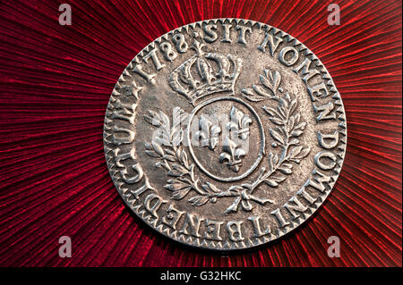 Rare French 1788 Silver Ecu coin Louis XVI France - Stock Photo