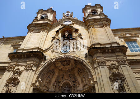 San Sebastian or Donostia Basque country Spain. The Basilica of Saint Mary of Coro in the old town. - Stock Photo