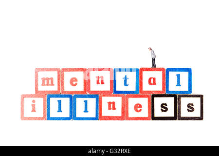 Mental illness anxiety depression depressed schizophrenia worries worry health scare Cutout cut out white background - Stock Photo