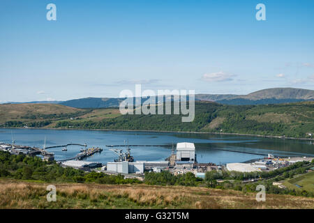View of Royal Navy base, Clyde, at Faslane on the Gare Loch in Argyll and Bute Scotland United Kingdom - Stock Photo