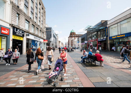 View of busy Argyll Street a popular shopping street in Glasgow, Scotland, United Kingdom - Stock Photo