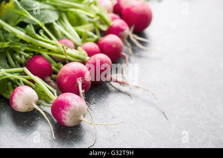 Fresh radishes on old kitchen table. Healthy vegetable. - Stock Photo