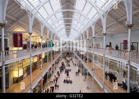 The Grand Gallery of the  National Museum of Scotland in Edinburgh, Scotland, United Kingdom - Stock Photo